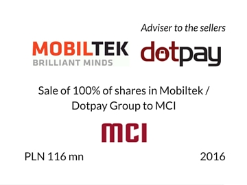 Sale of Mobiltek/Dotpay Group