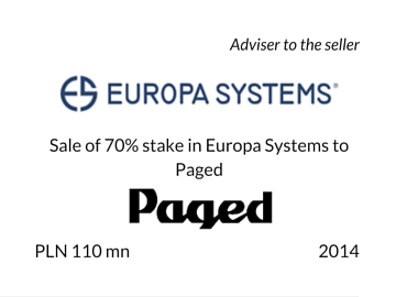 Sale of 70% stake in Europa Systems to Paged