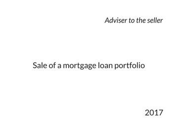 Sale of mortage loan portfolio